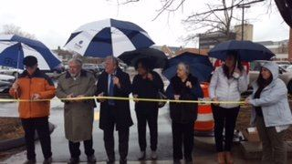 Dick Brescia,  Alex Knopp, Mayor Harry Rilling, Sherelle Harris, Patsy Brescia, Vanessa Valadares cutting the ribbon.